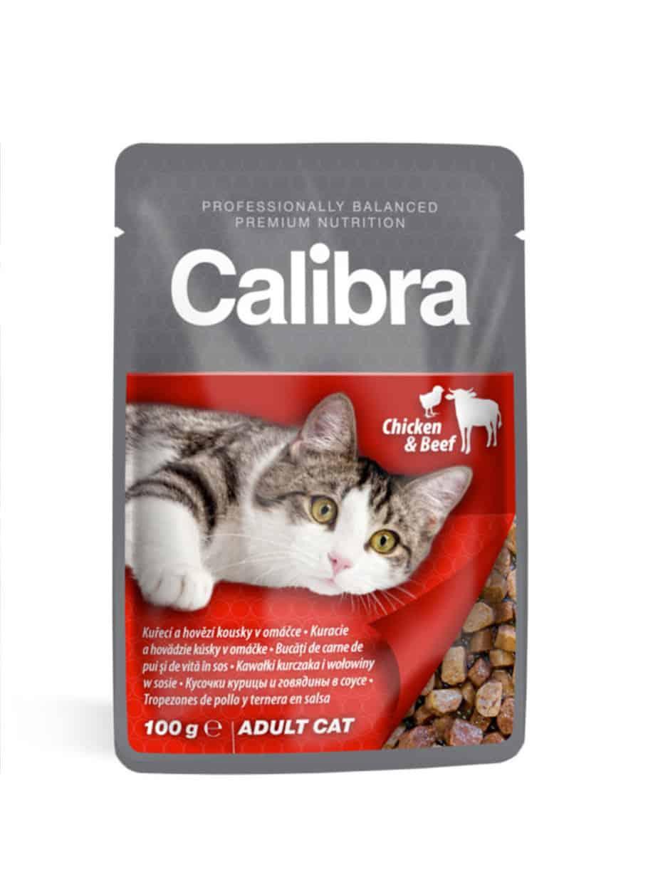 Calibra vådfoder Kylling & Bøf 24 stk. à 100g